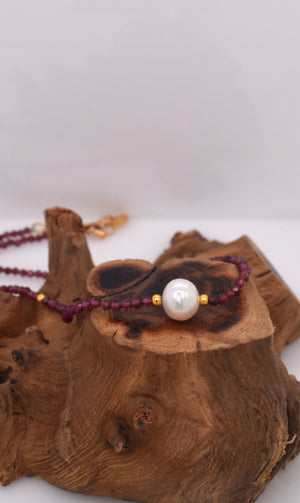 Single Pearl and Garnet Necklace