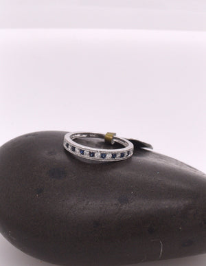 Sapphire and Diamond Channel Set Stackable Ring