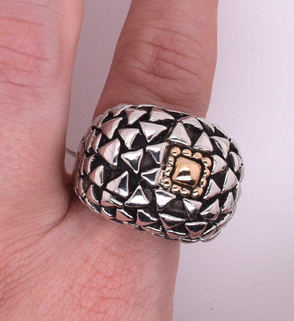 Dian Malouf Large Triangle Mixed Metal Ring