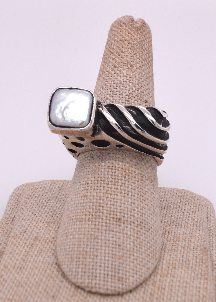 Dian Malouf Sterling Silver and Pearl Bar Ring