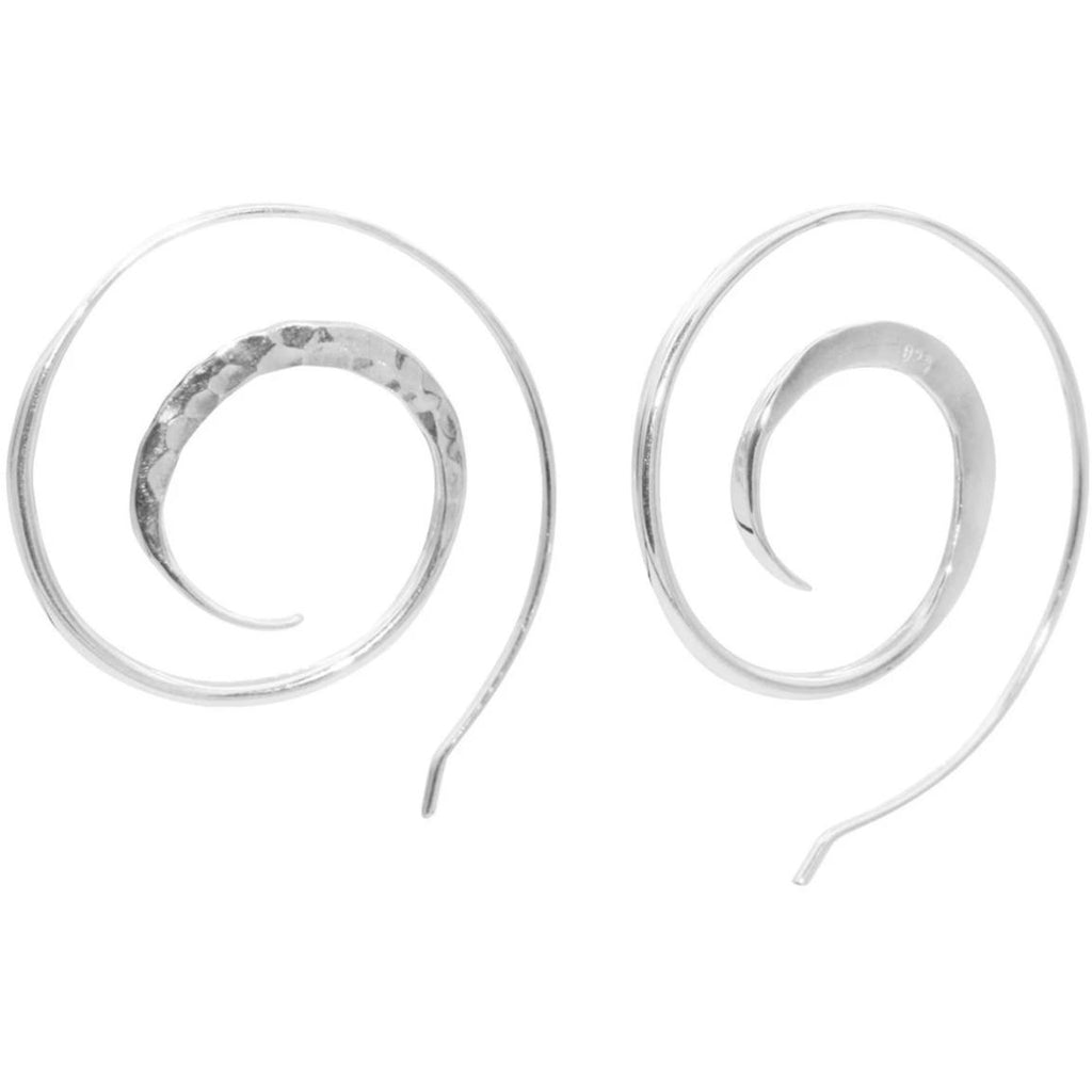 Sterling Silver Hammered Spiral Long French Wire Earrings