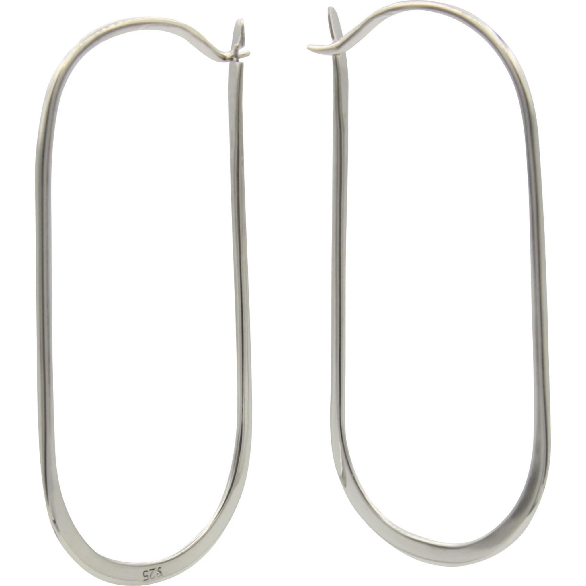 Sterling Silver Rustic Oblong Hoop Earrings