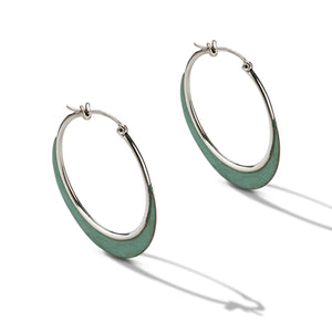 Sterling Silver Hoop Earrings with Oxidized Copper