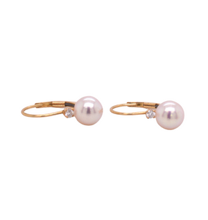 14kt Akoya Pearl and Diamond Lever Back Earrings