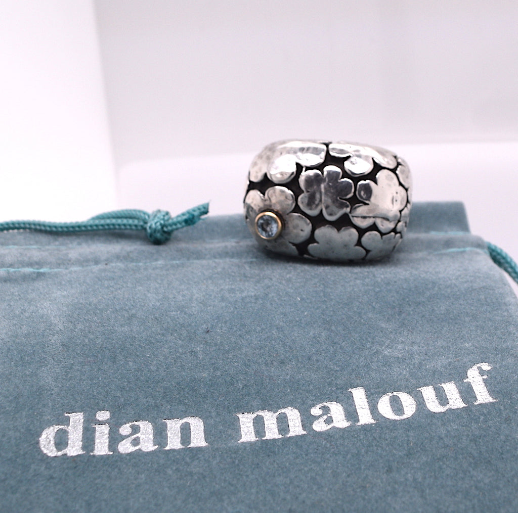 Dian Malouf Blooms Flower Ring with Blue Topaz