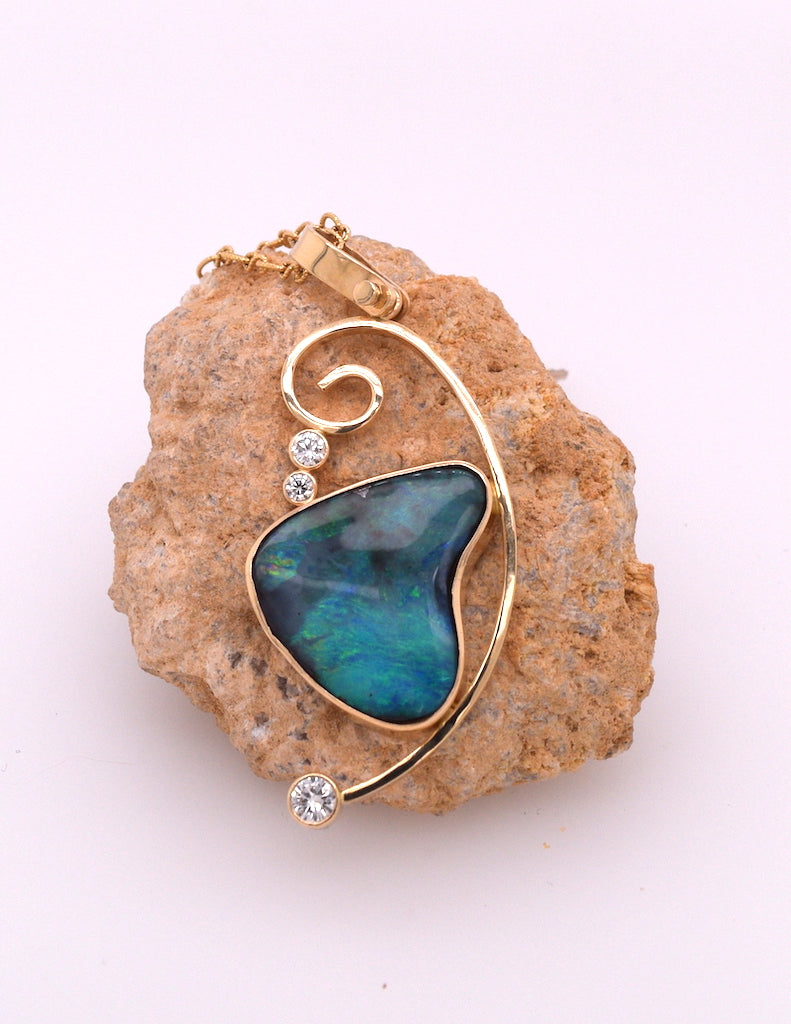 Boulder Opal and Diamond Pendant with Chain