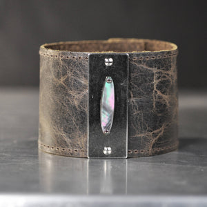 Mother of Pearl on 2 Inch Leather Cuff