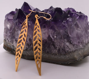 Small Leaf Shaped Drop Earrings