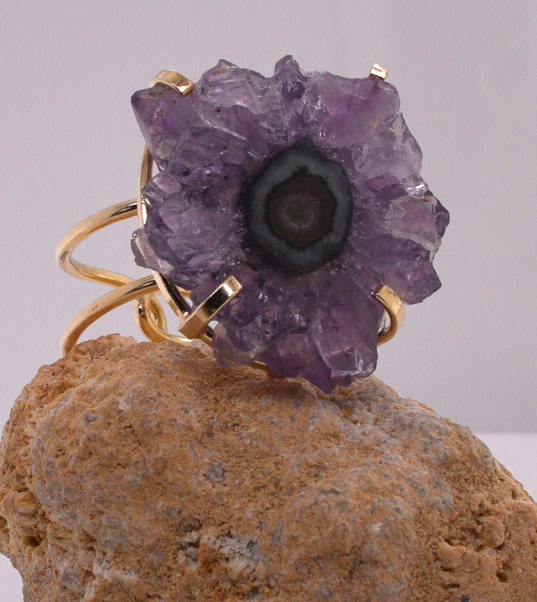 Dark Purple Agate Adjustable Ring
