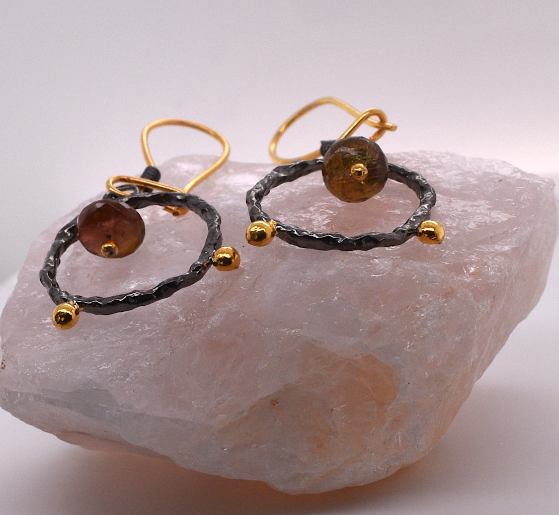 Marlena Rutilated Quartz Circle Drop Earrings