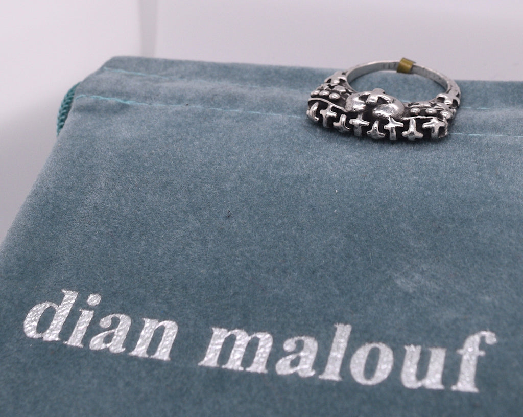 Dian Malouf Cross Sterling Silver Ring