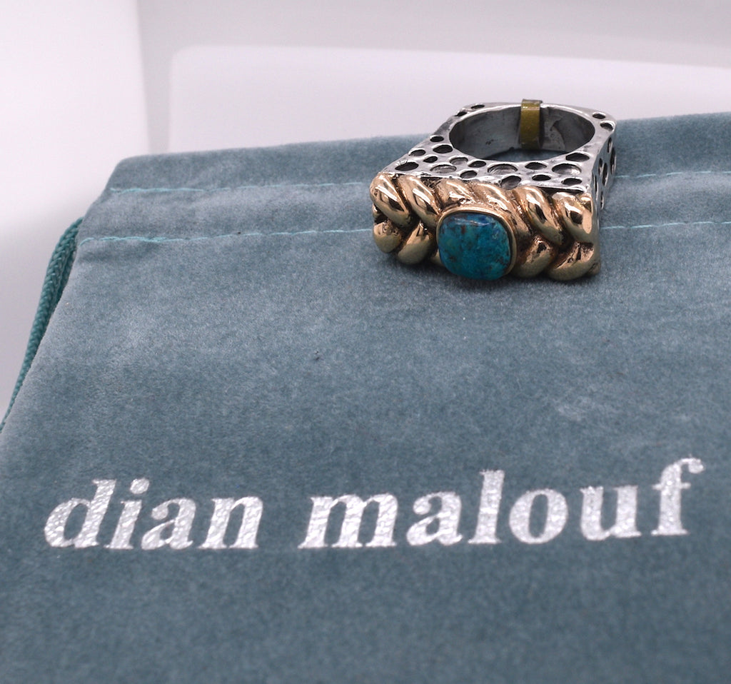Dian Malouf Braided Turquoise Mixed Metal Ring