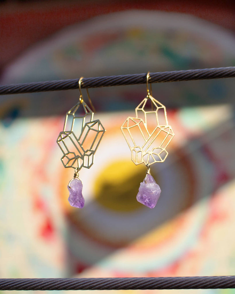 Crystal Cluster with Amethyst Earrings