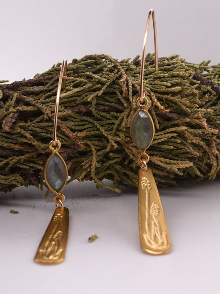 Stone and Gold Drop Threader Earrings