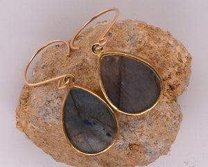 Rain Drop Shaped Labradorite Earrings