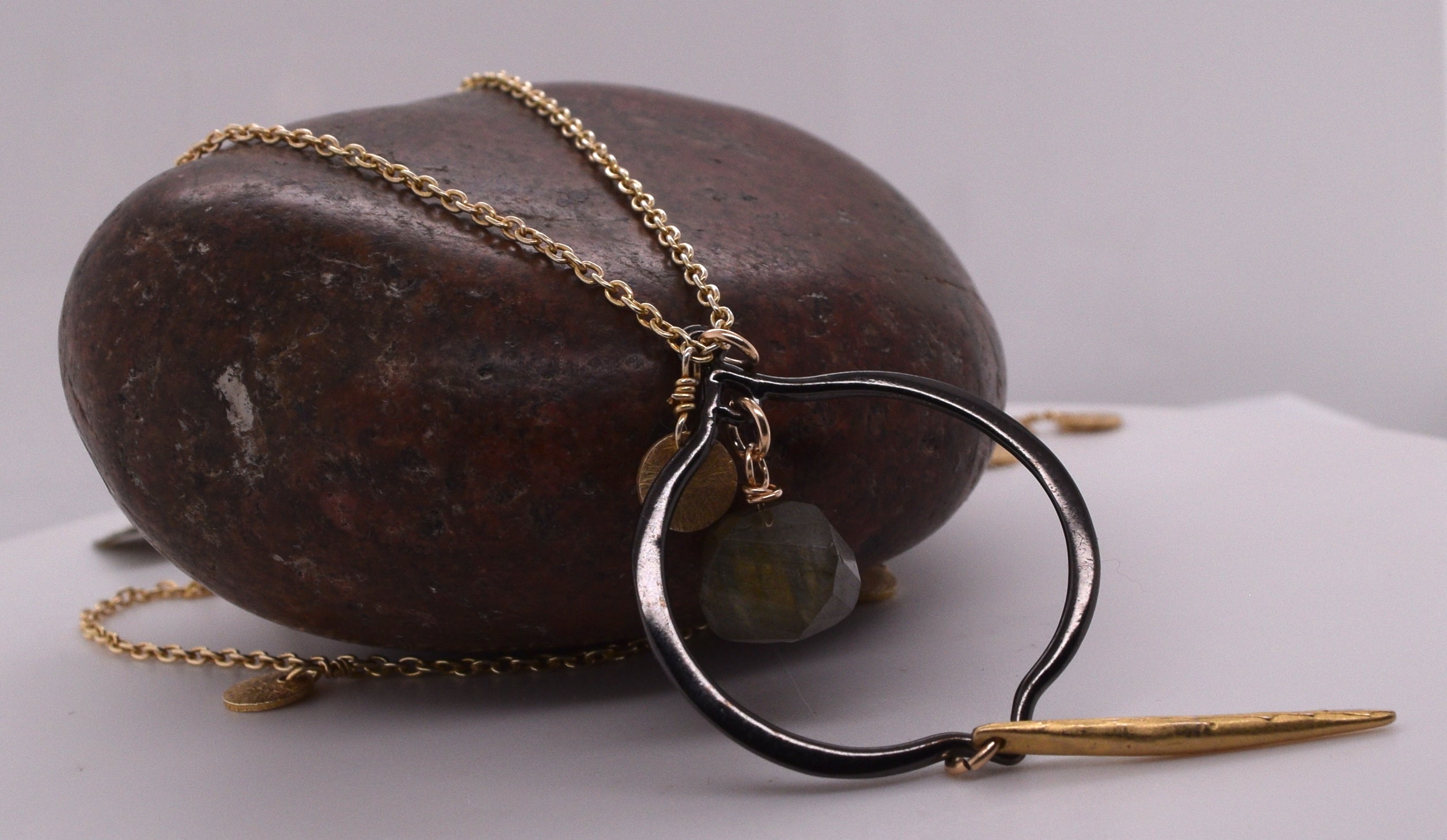 Long Two Tone Circle Necklace with Stone