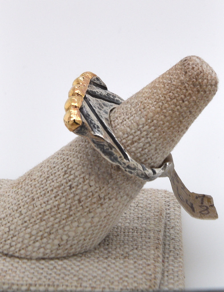Dian Malouf Mixed Metal Line and Circle Ring