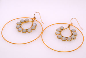 Labradorite Rain Drop Hoops