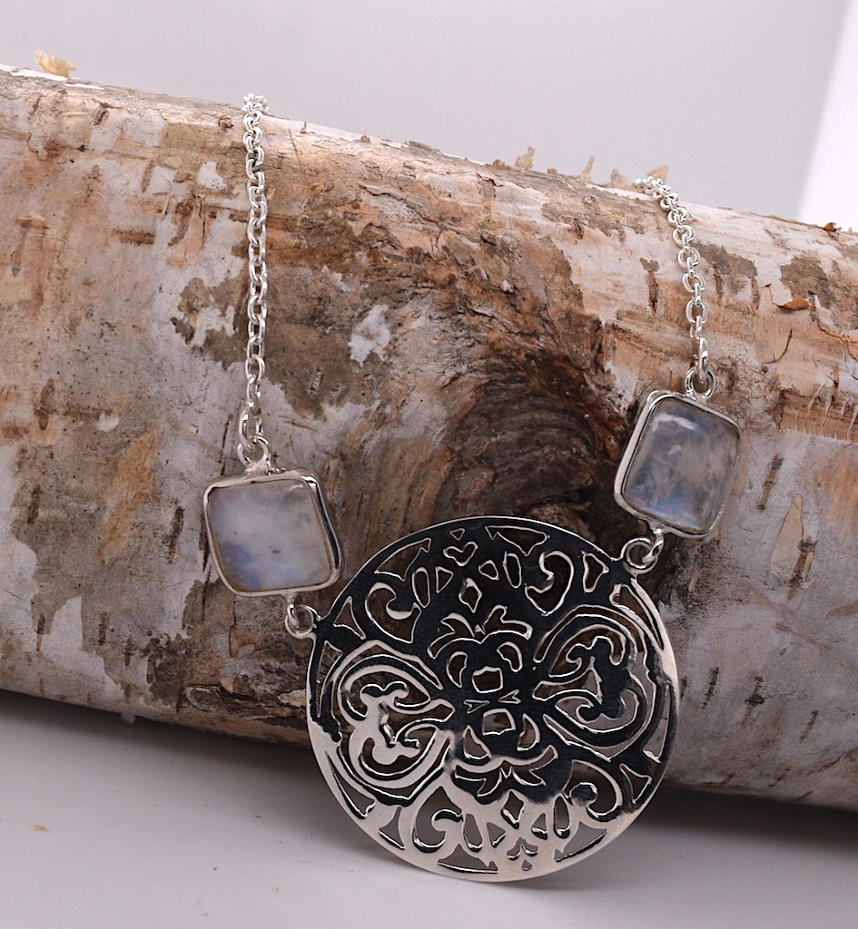 Moonstone and Sterling Silver Necklace