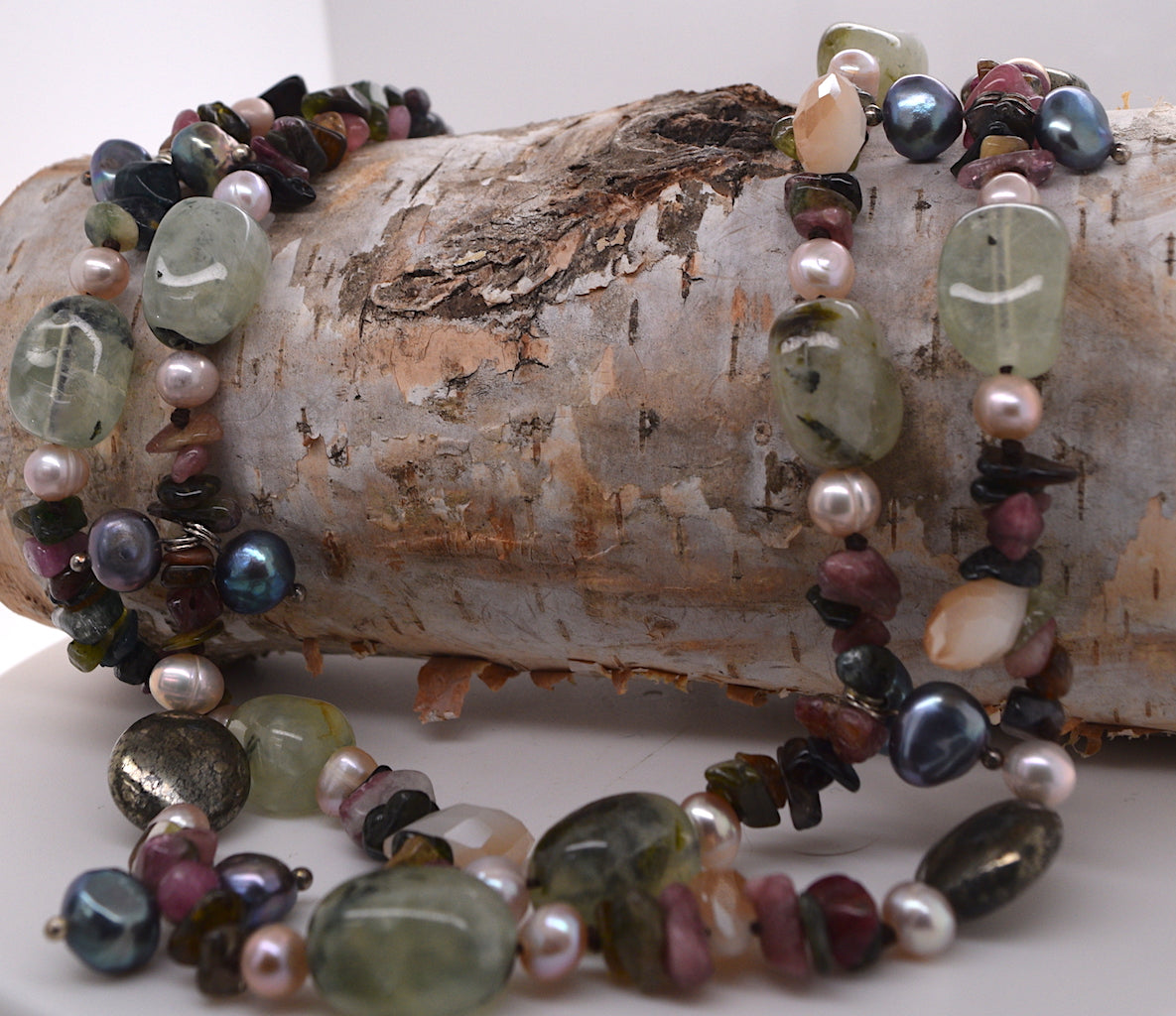 Layered Multi Tourmaline and Freshwater Pearl Necklace