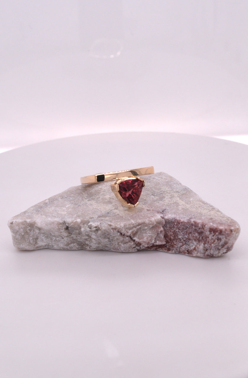 14kt Yellow Gold Salmon Tourmaline Ring