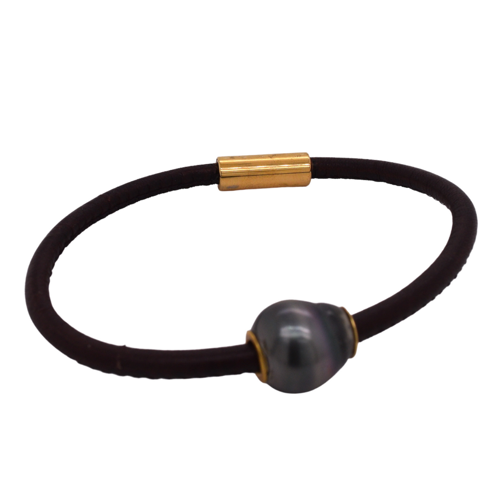 Tahitian Pearl Leather Magnetic Bracelet