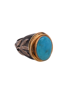 Two Tone Turquoise Statement Ring