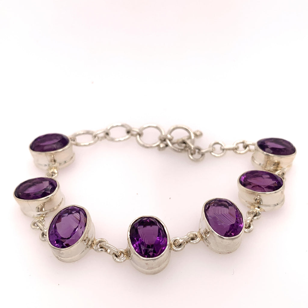 Amethyst Oval Shaped Sterling Silver Bracelet