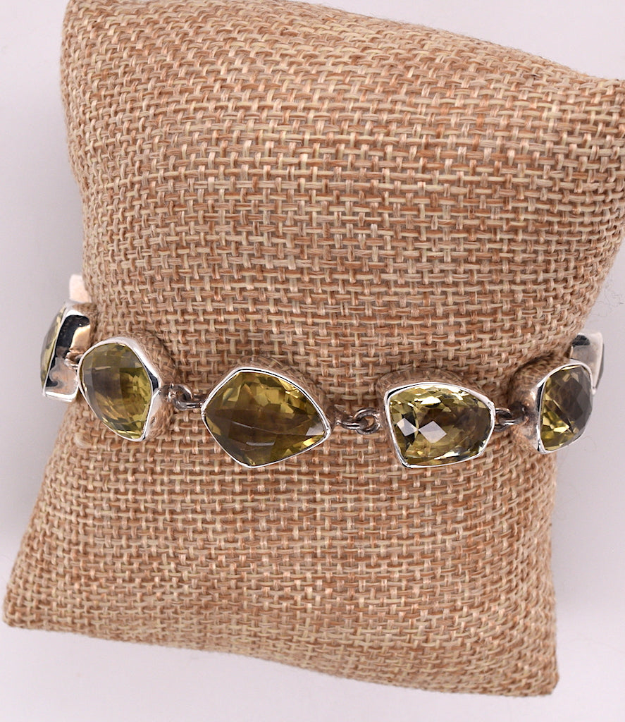 Sterling Silver and Yellow Citrine Bracelet