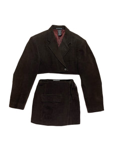 Vintage men's terry blazer reworked skirt set