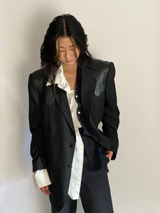 Leather patchwork blazer
