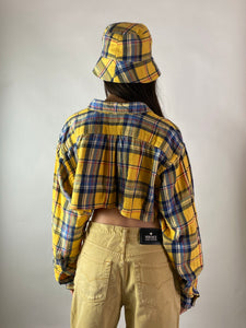 Vintage men's reworked shirt set with matching bucket hat