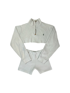 Vintage Polo half zip up knit two piece set