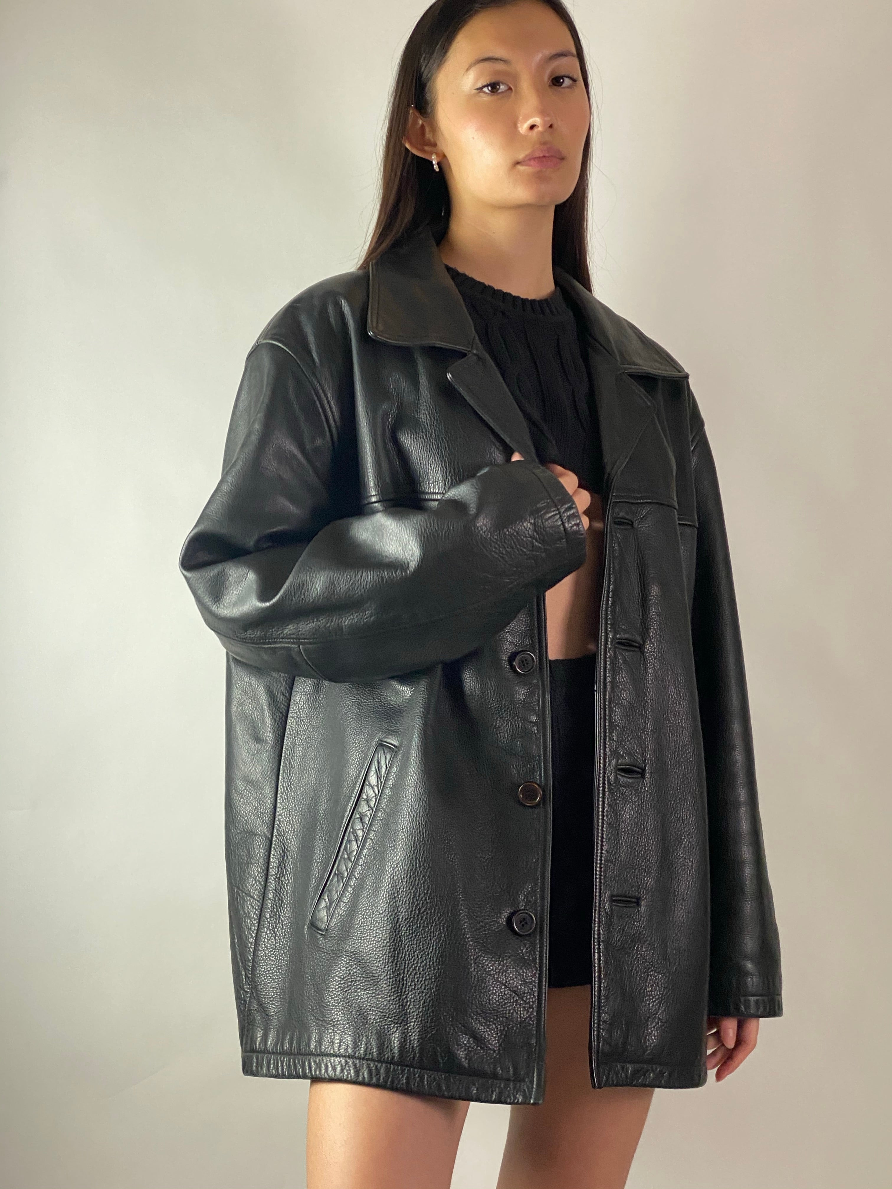 Vintage leather blazer jacket