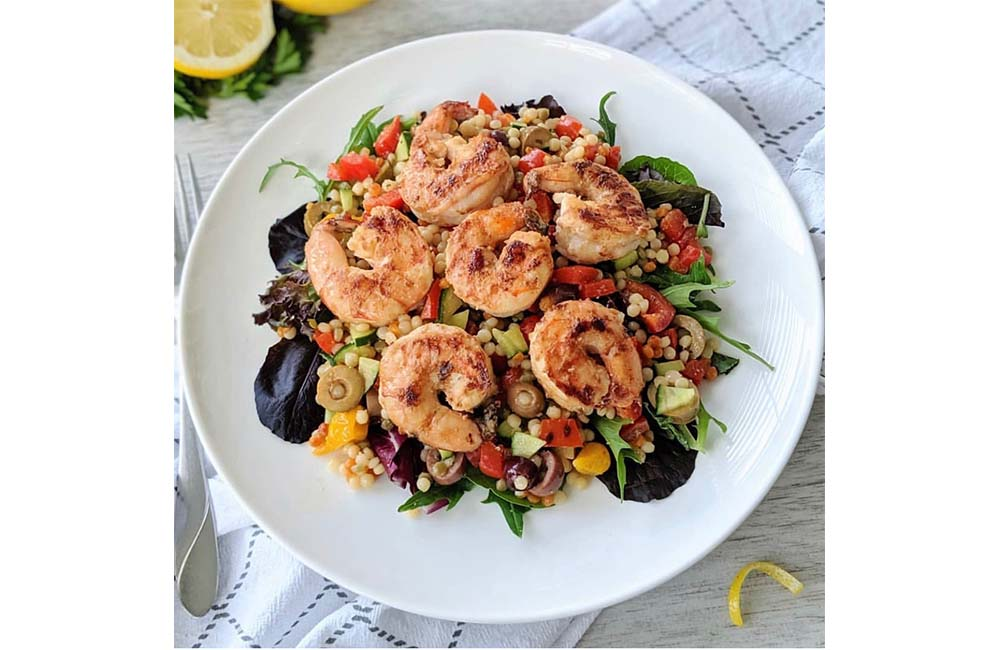 Spicy Sesame Tahini Shrimp with Israeli Couscous