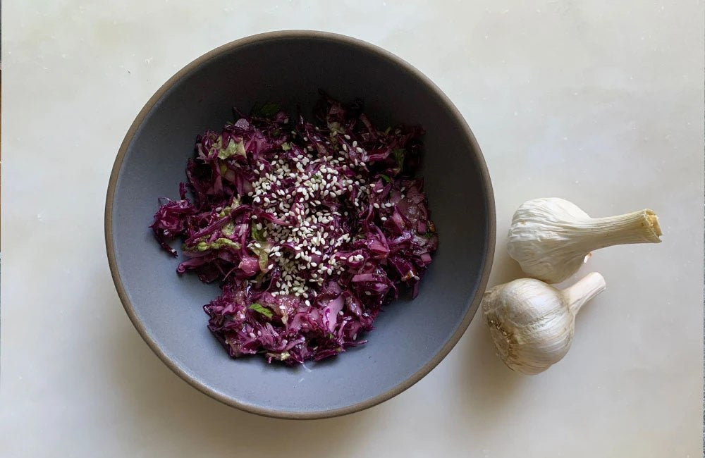 Red Cabbage and Cucumbers with Sesame Tahini Dressing