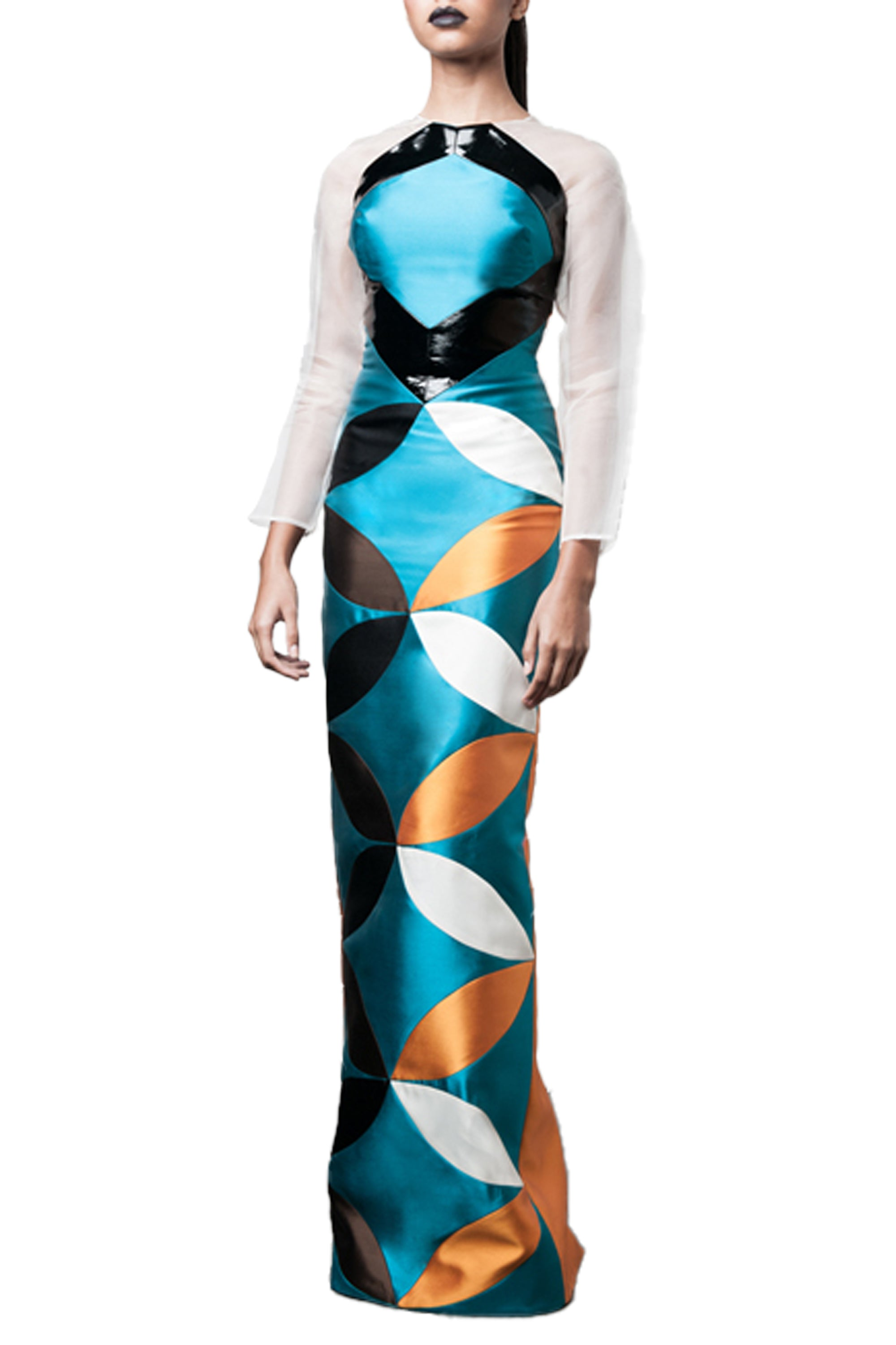 Washington Roberts Ellipse Gown - Womens geometric color blocked gown