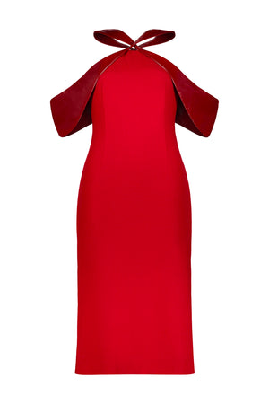 Washington Roberts Kite Dress in Wool Crepe and 100% Calf Patent leather - Alter Neck Sheath Dress