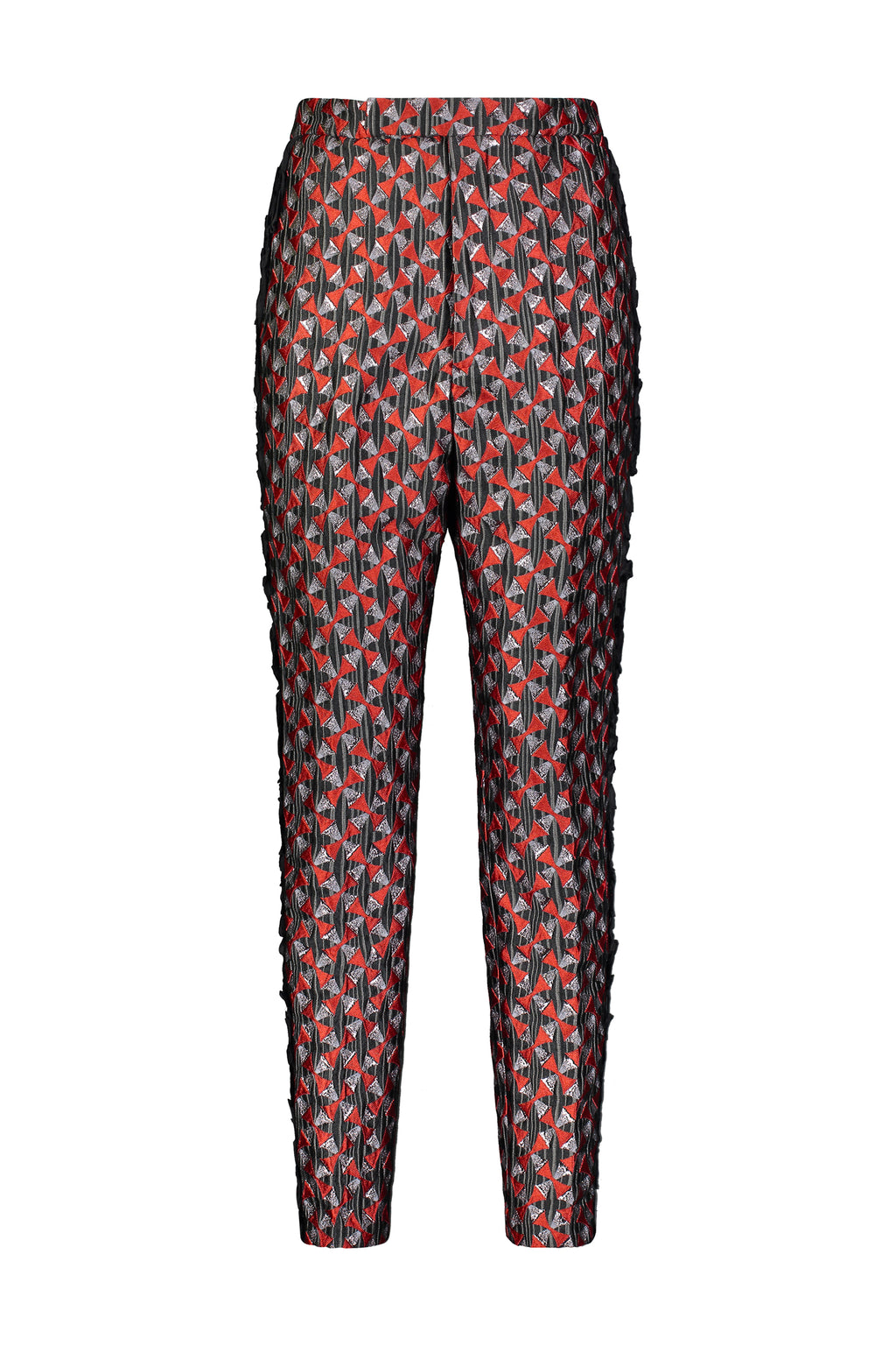 Washington Roberts Suit Tafawa Pant in Edo Dancers geometric print - Womens ankle length skinny Trousers
