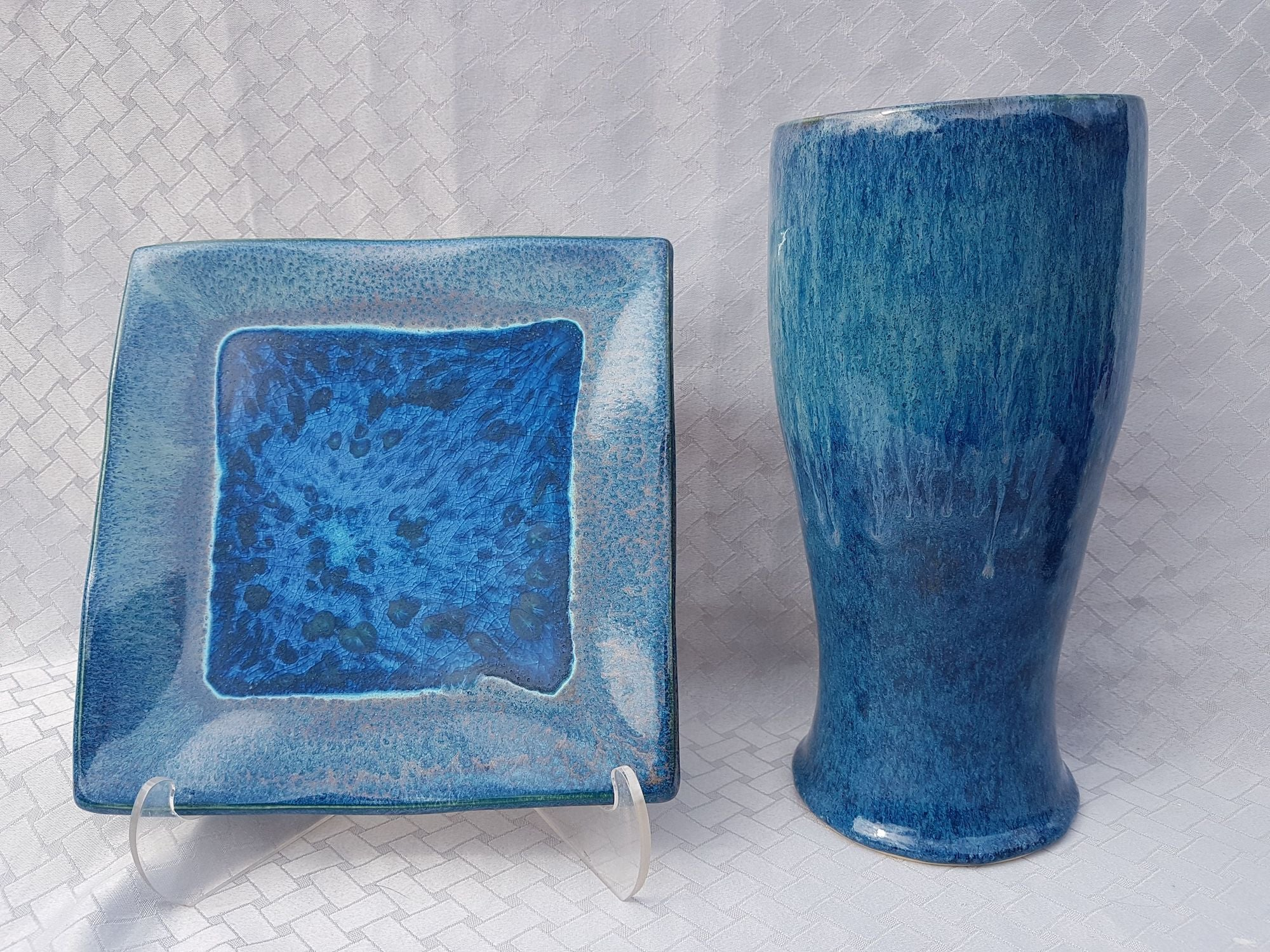 A rich green/blue glaze with multi-toned variation