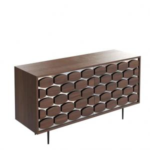 Honey Sideboard  3 doors  Canaletto Walnut,Silver Mirror