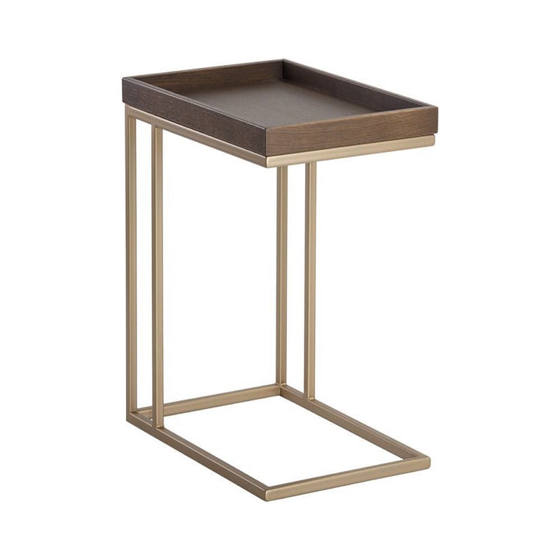 Arden C-shaped End Table - Gold - Raw Umber