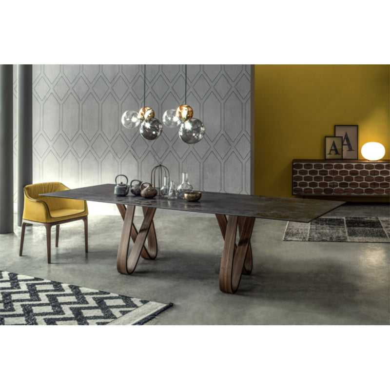 "Butterfly 78""-108"" Extendable DiningTable Black Ceramic"