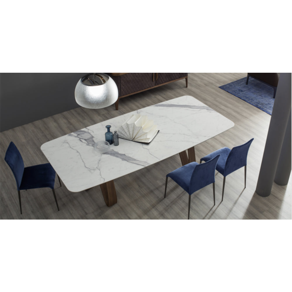 "Butterfly 98""L x 47""W Extendable Dining Table Statuary Porcelain"