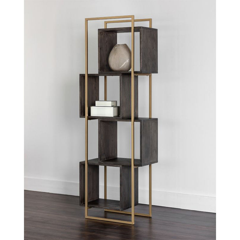 Jigsaw Bookcase - Brown / Gold