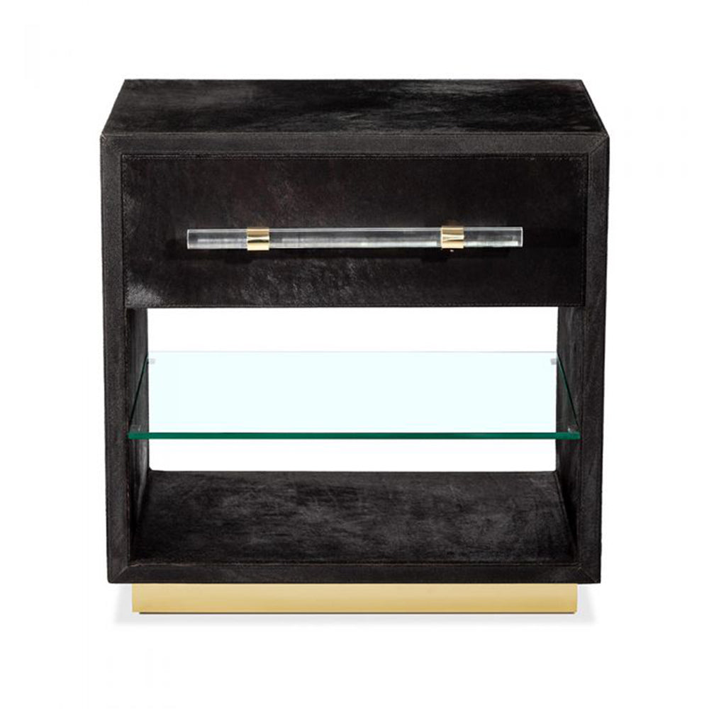 Cassian Bedside Chest - Black/ Brass