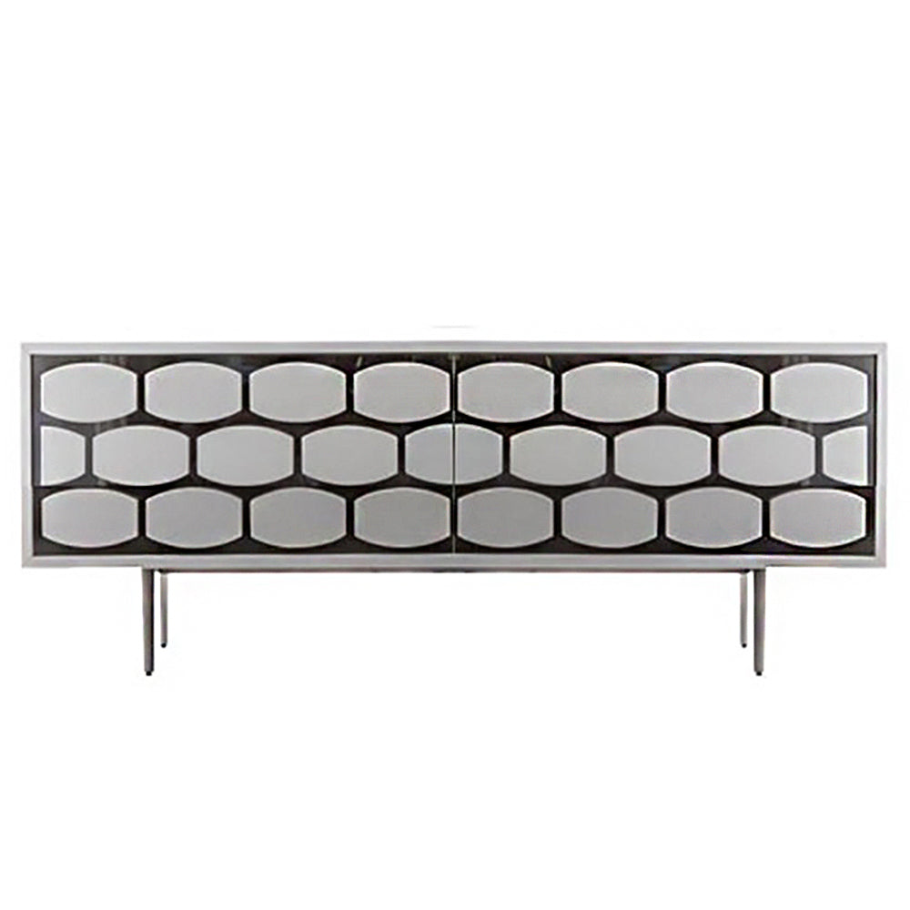 Honey Sideboard 2 doors Matt White, Silver Mirror