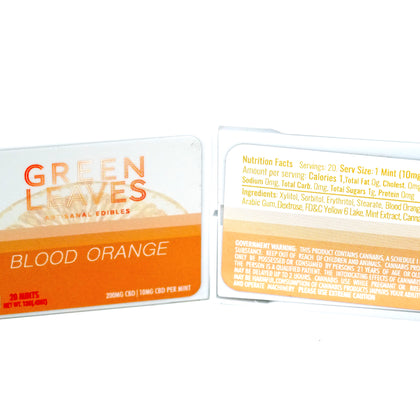 Green Leaves CBD Mints - Blood Orange 200mg
