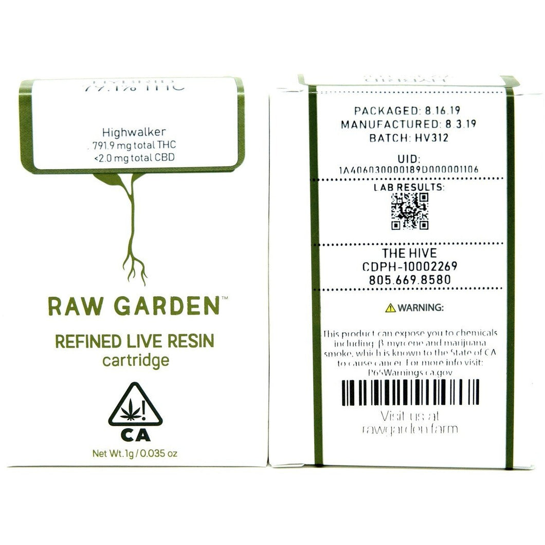 Raw Garden Live Resin Cartridge - Highwalker 1000mg