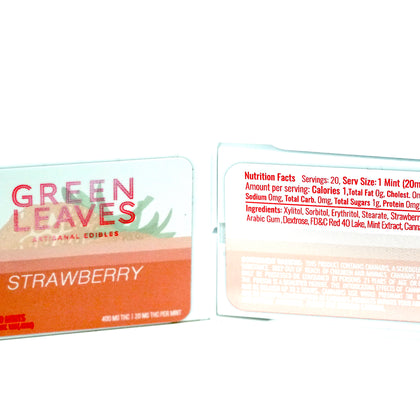 Green Leaves THC Mints - Strawberry 400mg